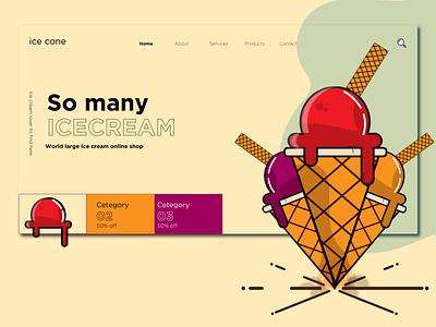 Web Temp Ice cream website design web design ux design template app icon uidesigner branding illustration ui  ux design concept webdesign website
