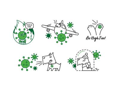 COVID-19 Stickers this is fine illustration design illustration art illustraion sticker covid covid-19 coronavirus daftcode stickers