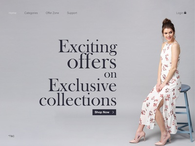 Landing page design for fashion website