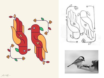 Symmetrical Design - Feeding Bird