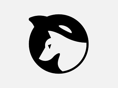 Whale and Wolf yin-yang philosophy wolf whale bw black white logo design icon branding animal vector logo illustration design