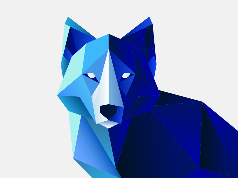 low poly style wolf mascot with wise eyes