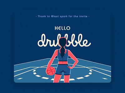 Hello Dribbble character art blue woman sport design basketball photoshop illustration debut shot debut