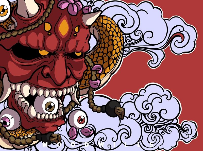 Hannya mask illustration art illustrator drawing and painting character design illustrating creative illustration