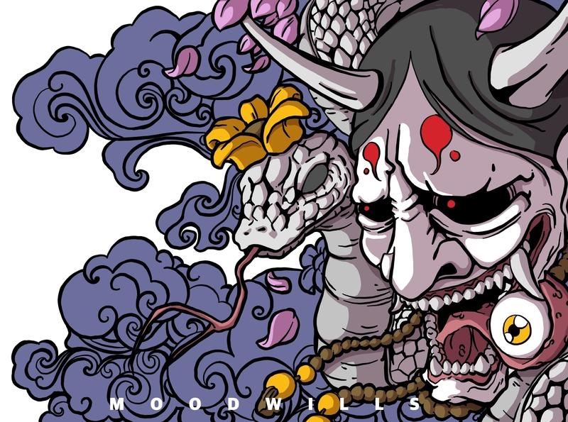 Hannya mask character illustration illustration art drawing and painting illustrator illustrating creative illustration