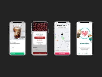 App screens cafe delivery map app ux ui
