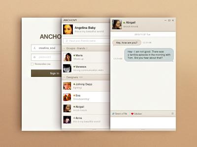 Messenger Squared Beige Ver. ui kit btn design button design user interface ui psd file ui psd messanger design messanger talking app communication app