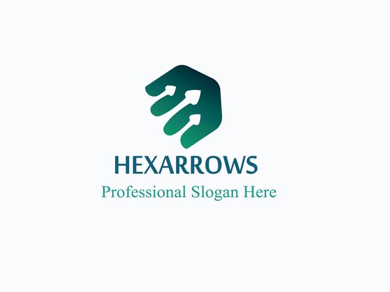 Hexaarrow Logo Design icon typography lettering business card design vector illustration flat design logo branding