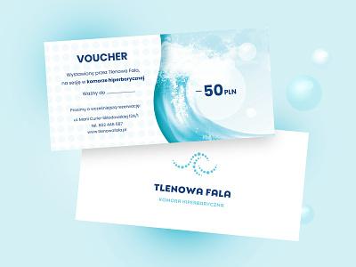 Voucher Tlenowa Fala bubbles oxygen wave blue voucher typography clean vector creative design