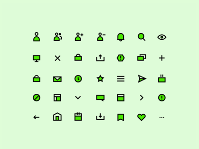 Green Pixel-perfect icons