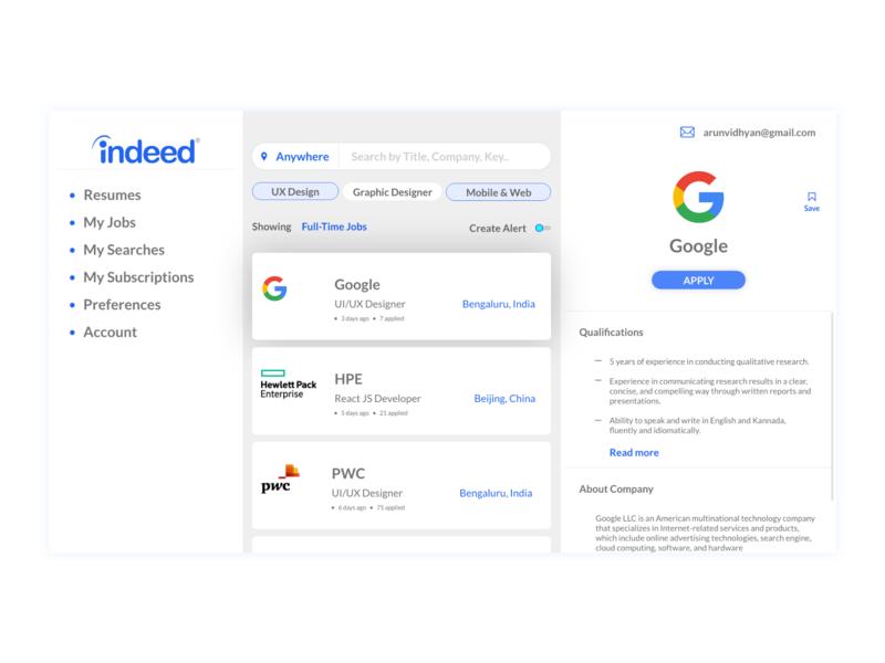 Indeed Redesign portals job search companies it google indeed creative web dribbble creative  design branding illustration ux ui design adobe xd design