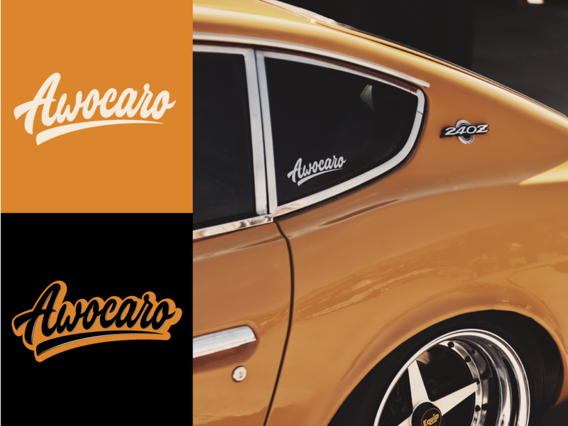 Awocaro - Lettering Logo for car rent website typography typo type streetwear sketches script packaging mark logotype logo lettering identity hand lettering free font fashion design clothing calligraphy branding