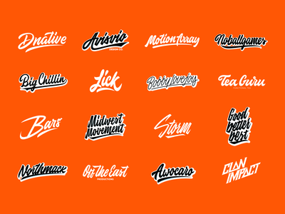 Lettering Logotypes Collection Vol.4 typography typo type streetwear sketches script packaging mark logotype logo lettering identity hand lettering free font fashion design clothing calligraphy branding