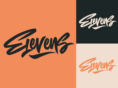 Elevens - Lettering Logo Sketch for Soccer Brand typography typo type streetwear sketches script packaging mark logotype logo lettering identity hand lettering free font fashion design clothing calligraphy branding