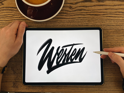 Westen - Lettering Logo Sketch for YouTube blogger typography typo type streetwear sketches script packaging mark logotype logo lettering identity hand lettering free font fashion design clothing calligraphy branding