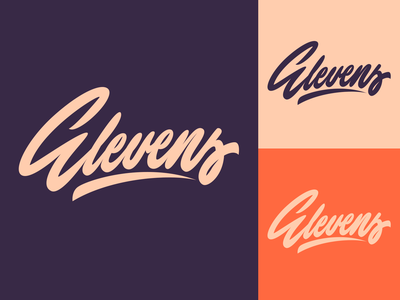 Elevens - Lettering Logo for Soccer Brand typography typo type streetwear sketches script packaging mark logotype logo lettering identity hand lettering free font fashion design clothing calligraphy branding