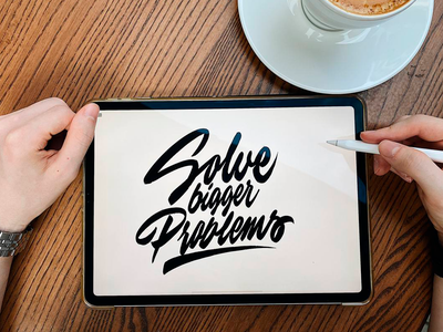 Solve Bigger Problems - Lettering Sketch for CMOx typography typo type streetwear sketches script packaging mark logotype logo lettering identity hand lettering free font fashion design clothing calligraphy branding