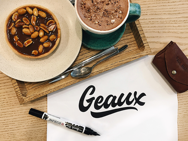 Geaux - Logo Sketch packaging mark clothing streetwear design typo identity branding sketch sketches type script font typography logotype logo lettering hand lettering free calligraphy