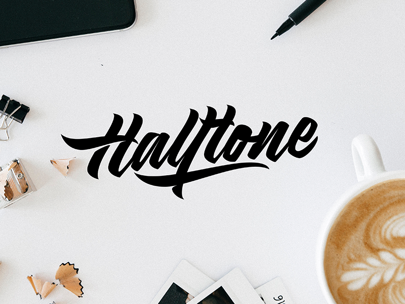 Halftone - Logo Sketch packaging mark clothing streetwear design typo identity branding sketch sketches type script font typography logotype logo lettering hand lettering free calligraphy