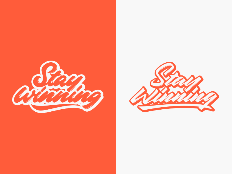 Stay Winning - Logo for Clothing Brand packaging mark clothing streetwear design typo identity branding sketch sketches type script font typography logotype logo lettering hand lettering free calligraphy