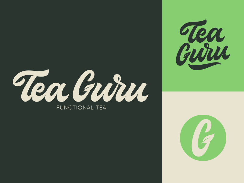 Tea Guru - Lettering Logo Project fashion packaging mark clothing streetwear design typo identity branding sketches type script free font typography logotype logo lettering hand lettering calligraphy