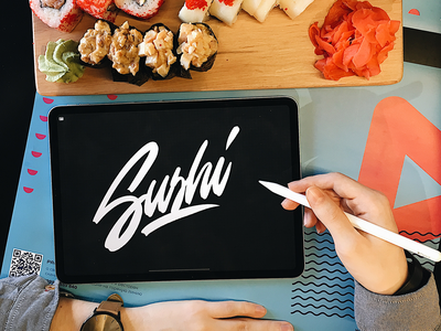 Sushi - IPad Lettering fashion packaging mark clothing streetwear design typo identity branding sketches type script free font typography logotype logo lettering hand lettering calligraphy