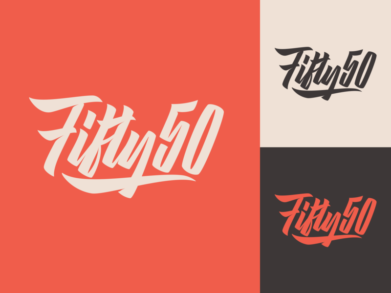Fifty50 - Logo for design agency from UK fashion packaging mark clothing streetwear design typo identity branding sketches type script free font typography logotype logo lettering hand lettering calligraphy