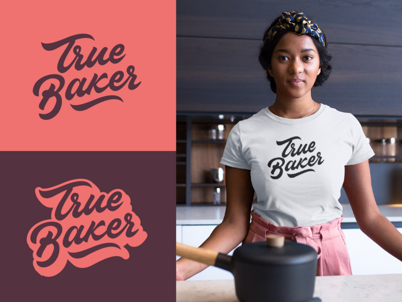 True Baker - Logo for Bakery Full Project fashion packaging mark clothing streetwear design typo identity branding sketches free type script font typography logotype logo lettering hand lettering calligraphy