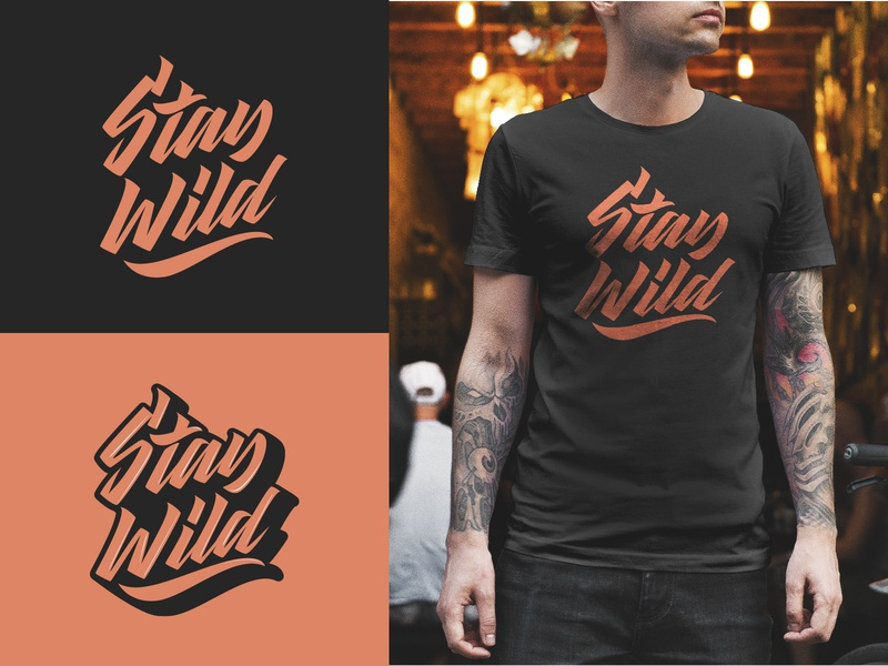 Stay Wild - Full Logo Project for Clothing Brand fashion packaging mark clothing streetwear design typo identity branding sketches free type script font typography logotype logo lettering hand lettering calligraphy