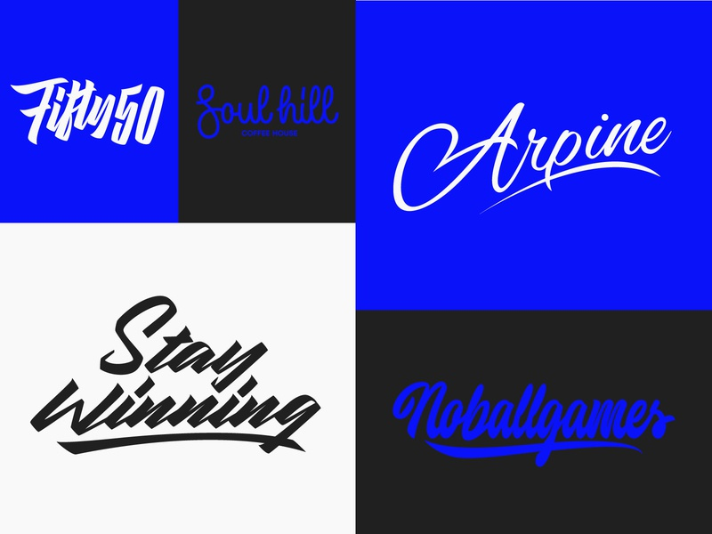 Some Lettering Logotypes fashion packaging mark clothing streetwear design typo identity branding sketches free type script font typography logo logotype lettering hand lettering calligraphy