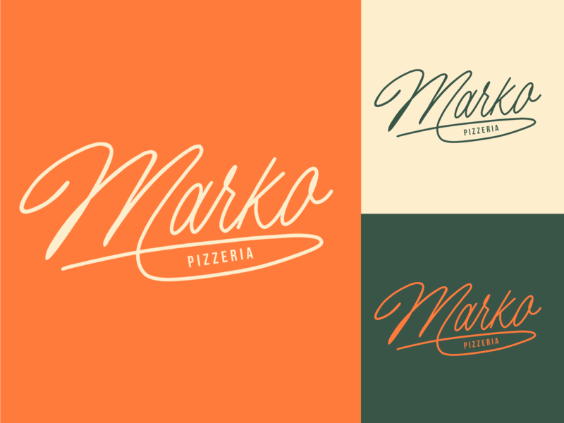 Marko - Logo Sketch for Pizzeria typography typo type streetwear sketches script packaging mark logotype logo lettering identity hand lettering free font fashion design clothing calligraphy branding
