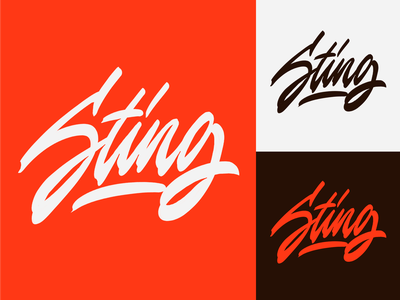 Sting - Lettering Logo Sketch for Contemporary Artist typography typo type streetwear sketches script packaging mark logotype logo lettering identity hand lettering free font fashion design clothing calligraphy branding