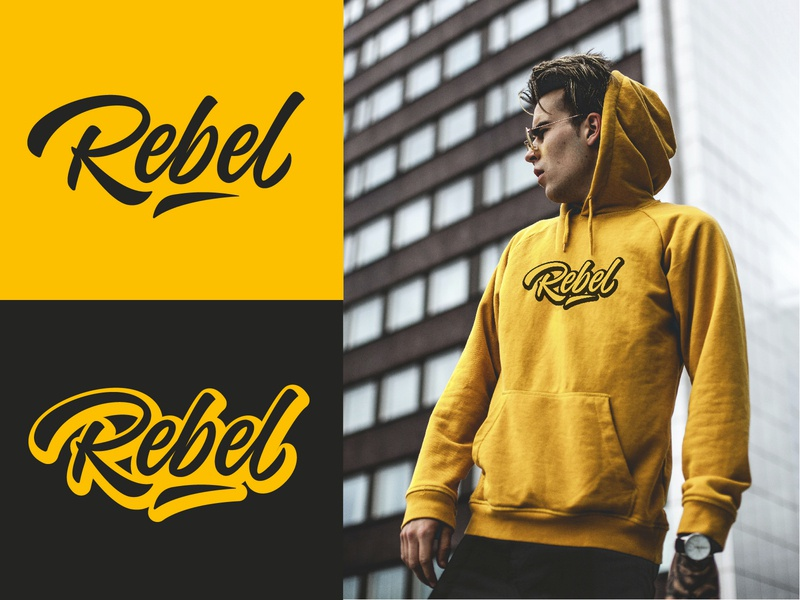 Rebel - Full Personal Lettering Logo Project typography typo type streetwear sketches script packaging mark logotype logo lettering identity hand lettering free font fashion design clothing calligraphy branding