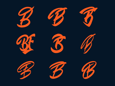 BF - Monogram sketches for personal training fitness company typography typo type streetwear sketches script packaging mark logotype logo lettering identity hand lettering free font fashion design clothing calligraphy branding