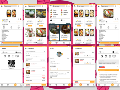 Cari makan hot checkout process love barcode topup wallet app concept makan donation hungry dinner lunch mock up design ux ui