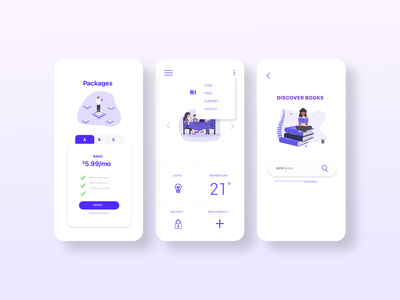 Daily UI: 21, 22, 27, & 30 dailyui030 dailyui022 dailyui021 dailyui22 dailyui21 home monitoring dashboard dropdown search package dailyuichallenge dailyui uiux mobile minimal flat ui design ux