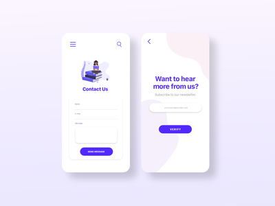Daily UI: Contact Us and Subscribe daily ui 026 daily ui 028 purple subscribe contact us xd adobe dailyuichallenge dailyui