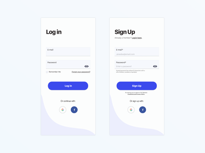 Log in and Sign in Screen erikkennedy learnui password accessibility uxdesign digitaldesign uidesign signup form login form login ui signin visualdesign uxui ux signup login mobile