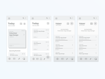 Task/Productivity Management Wireframe sketch xd design visualdesign uidesign uiux ui learnui wireframe