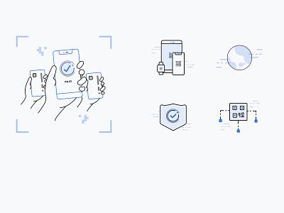 QR Code Illustrations Part 2 icons ux online payment online payment blue illustrations ui coder