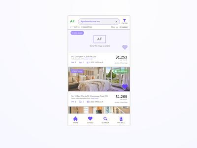 Apartment Finder Concept Screen digitaldesign filters multistate states app icons tables list sketch uxdesign digital ux uiux ui uidesign