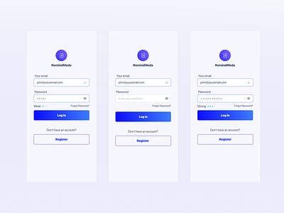 Concept Log in Screen mobile product design password login ux uxdesign uidesign ui
