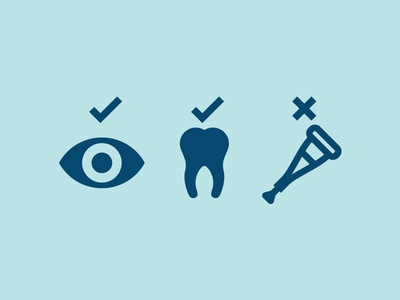 Icons blue health icons eye tooth crutch options