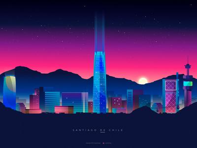 Santiago de Chile Night - Illustration