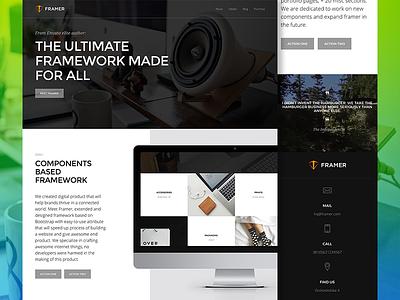 Framer - Component-Based Multi-Purpose Framework ui ux design web website web design modern flat clean minimal layout landing