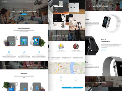 Myway - Onepage Template landing layout minimal clean flat modern web design website web design ux ui
