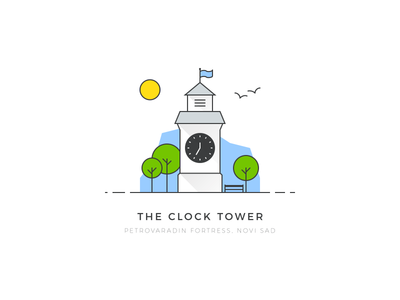 Petrovaradin Fortress - Clock Tower colorful geometric design serbia novi sad tower vector flat illustration