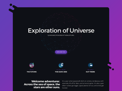 Space Adventurer landing glow minimal web design dark website clean space ui ux