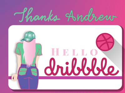 hello dribbble vector art shot illustration hand lettering debut