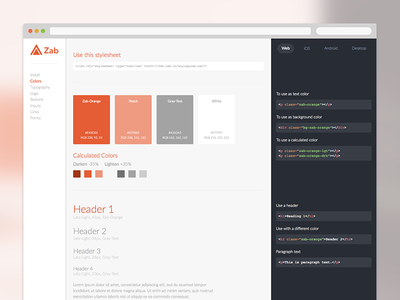Interactive Styleguide zab code stylesheet html css dev browser web api styles styleguide ui